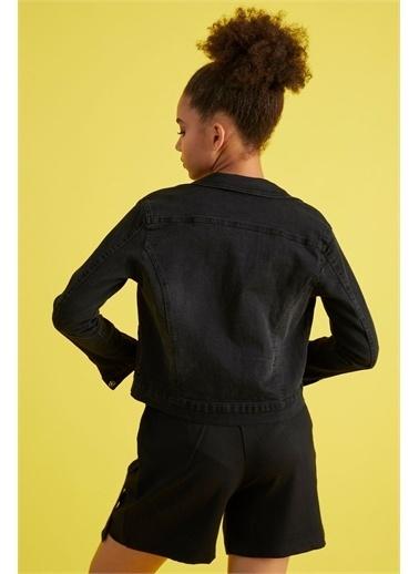 Z Giyim Kadın  Mavi  Slimfit Yıkamalı Yıpratmalı Mini Kot Ceket Siyah
